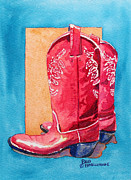 Arizona Contemporary Cowgirl Framed Prints - Red Cowgirl Boots Framed Print by Deb  Harclerode