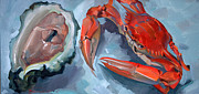Louisiana Seafood Art - Red Crab and Oyster by Larisa Ivakina-Clevenger