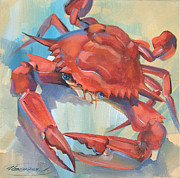 Blue Crab Paintings - Red Crab by Larisa Ivakina Clevenger