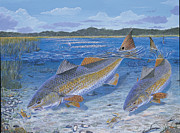Redfish Paintings - Red Creek In0010 by Carey Chen