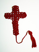 Featured Tapestries - Textiles Originals - Red Cross Bookmark by Diane M