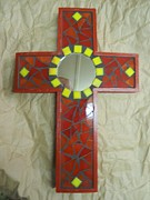 Cross Glass Art - Red Cross with mirror by Fabiola Rodriguez