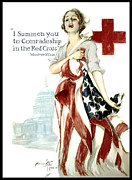 War Relief Framed Prints - Red Cross World War 1 Poster  1918 Framed Print by Daniel Hagerman