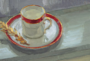 Saucer Framed Prints - Red Cup  Framed Print by Naomi Clements Wright
