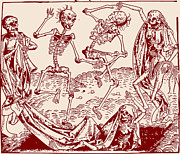 Skeletons Drawings - Red Dance Macabre by Michael Wolgemut