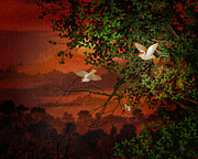 Sunlight Mixed Media Metal Prints - Red Dawn Sparrows Metal Print by Bedros Awak
