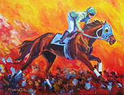 Jockey Paintings - Red Dawn Workout by Carole Powell