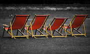 Daybed Posters - Red deck chairs Poster by Mikhail Pankov