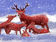Wildlife Landscape Drawings - Red Deer Family by Jean Pacheco Ravinski