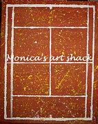 Roland Garros Painting Posters - Red Dirt Of A Tennis Court Poster by Monica Art-Shack
