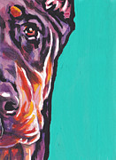 Doberman Pinscher Puppy Prints - Red Dobie Man Print by Lea
