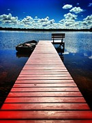 Dock Prints - Red Dock Print by Jeff Klingler