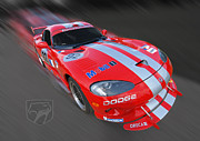 American Auto Racing Driver Prints - Red Dodge Viper Print by Gill Billington