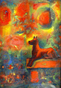 Garden Scene Mixed Media Metal Prints - Red dog in the Garden 2 Metal Print by Nato  Gomes