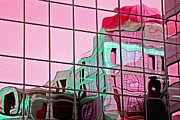 Window Reflection Posters - Red Dome on Window Poster by Charline Xia