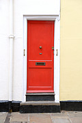 Residential Structure Prints - Red Door Print by Chevy Fleet
