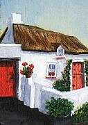 Rose Cottage Gallery Posters - Red Door Cottage Like Maggies Poster by Barbara McDevitt