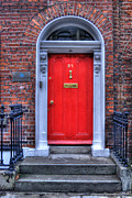 Wooden Building Prints - Red Door Dublin Ireland Print by Juli Scalzi