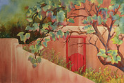 Johanna Axelrod Prints - Red Door in Adobe Wall Print by Johanna Axelrod
