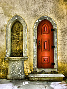 Medieval Castle Photos - Red Door of the Medieval Castle of Sintra by David Letts