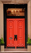 Chandelier Prints - Red Door on New York City Brownstone Print by Amy Cicconi