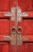 Southeast Asian Prints - Red Doors 01 Print by Rick Piper Photography