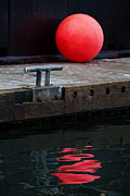 Fishing Dock Posters - Red Dot Poster by Elena Nosyreva