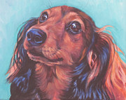 Long Hair Paintings - Red Doxie by Lee Ann Shepard