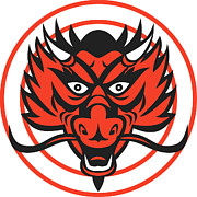 Chinese Red Posters - Red Dragon Head Circle Poster by Aloysius Patrimonio