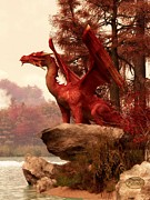 Fantasy Digital Art - Red Dragon In Autumn by Daniel Eskridge