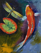 Koi Painting Posters - Red Dragon Koi Poster by Michael Creese