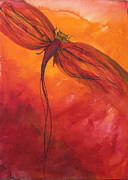 Red Photographs Painting Prints - Red Dragonfly 2 Print by Julie Lueders
