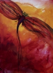 Insect Paintings - Red Dragonfly by Julie Lueders 