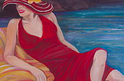 Beach Towel Painting Posters - Red Dress Reclining Poster by Debi Pople