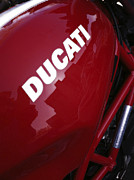 Motogp Posters - Red Ducati Corse Poster by Bill Owen