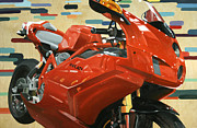 Motorcycle Racing Art Painting Framed Prints - Red Ducati Framed Print by Guenevere Schwien