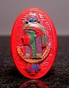 Egyptian Jewelry - Red Egyptian Glass Oval Stone 7 by Dwight Goss