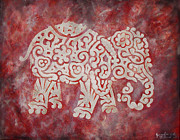 University Of Alabama Digital Art Prints - Red Elephant Print by Jennifer Kelly
