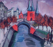 Berlin Germany Painting Posters - Red Elisabeth Riverbank Berlin Poster by Ernst Ludwig Kirchner
