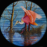 Spoonbill Paintings - Red Eye by AnnaJo Vahle
