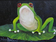 Barbara Haviland Framed Prints - REd Eyed Green Frog Framed Print by Barbara Haviland