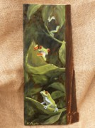 Red-eyed Tree Frog Painting Prints - Red Eyed Tree Frogs Print by Viktoria K Majestic