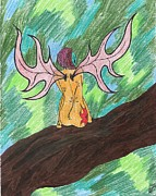 Faerie Drawings - Red Faerie by Random Merlin Ellis