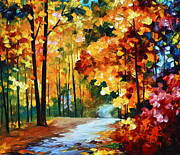 Autumn Woods Painting Prints - Red Fall Print by Leonid Afremov
