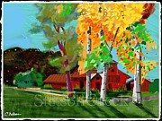 Autumn Landscape Mixed Media Prints - Red Farm Print by Craig Nelson