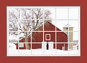 Home Walls Art Prints - Red Farm House Picture Window Red Barn Vew  Print by James Bo Insogna