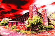 Stone Chimney Prints - Red Farm Sky Print by Phill Petrovic