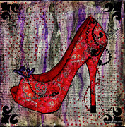 Janelle Nichol Prints - Red Fashion Shoe with Purple Flower  Print by Janelle Nichol