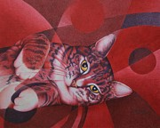 Animals Drawings Posters - Red Feline Geometry Poster by Pamela Clements