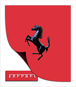 Stock Photo Digital Art - Red Ferrari Black Prancing Stallion  by Maj Seda